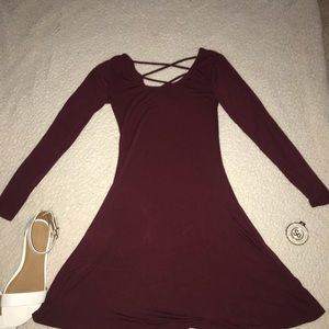 maroon winter dress